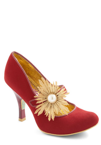Couture Guide Heel by Irregular Choice - High, Red, Buttons, Trim, Statement, Holiday Party, Vintage Inspired, Luxe, International Designer, Special Occasion