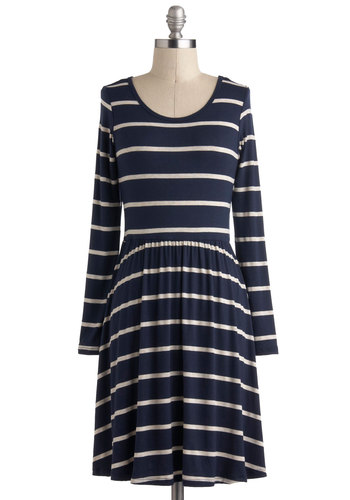 Every Minute Counts Dress - Blue, Stripes, Casual, A-line, Long Sleeve, White, Nautical, Mid-length, Travel, Winter, Press Placement, Top Rated