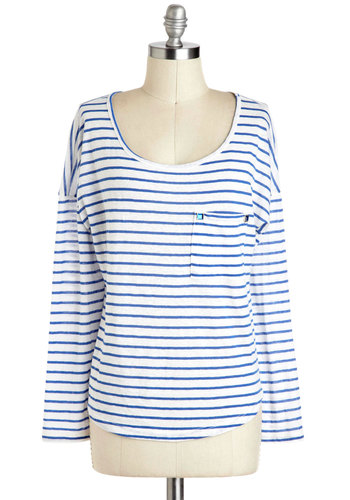 Azure Feels Good Top - Blue, White, Stripes, Pockets, Rhinestones, Casual, Long Sleeve, Nautical, Scoop, Mid-length, Travel