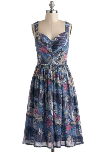 The Perfect Periwinkle Dress - Blue, Purple, Pink, White, Multi, Print, Belted, Daytime Party, Fit & Flare, Tank top (2 thick straps), Sweetheart, Vintage Inspired, 50s, Long, Pinup