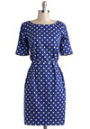 Bestrewn as Possible Dress - Mid-length, Blue, White, Polka Dots, Exposed zipper, Pleats, Casual, Sheath / Shift, Short Sleeves, Nautical