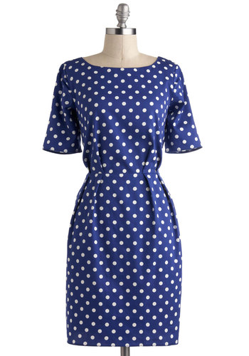 Bestrewn as Possible Dress - Mid-length, Blue, White, Polka Dots, Exposed zipper, Pleats, Casual, Shift, Short Sleeves, Nautical