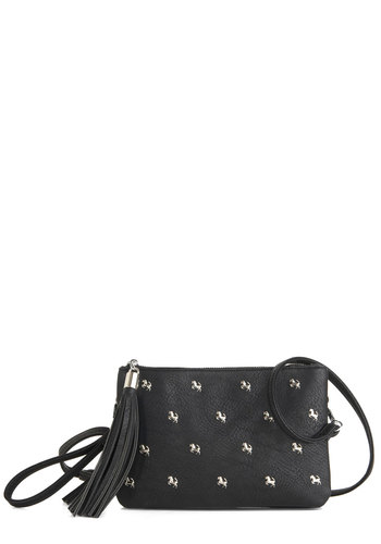 All I Do is Whinny Bag - Black, Solid, Studs, Tassles, Print with Animals, Casual, Vintage Inspired