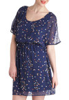 Best of Both Whirls Dress - Blue, Multi, Polka Dots, Casual, A-line, Short Sleeves, Chiffon, Mid-length