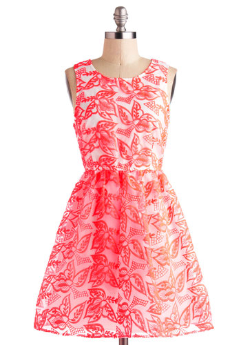 Neon Point Dress - Orange, White, Floral, Embroidery, Daytime Party, Fit & Flare, Tank top (2 thick straps), Party, Neon, Short