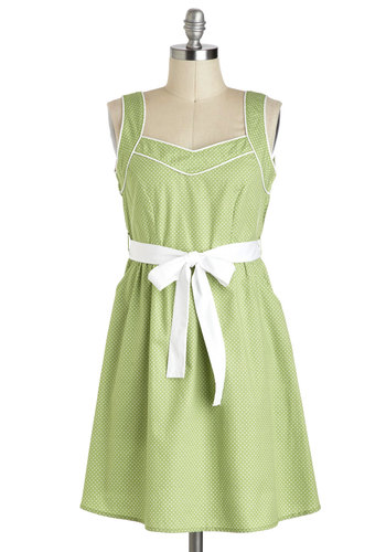 Fun and Only Dress - Cotton, Short, Green, White, Polka Dots, Pockets, Casual, A-line, Tank top (2 thick straps), Belted, Spring, Pastel, Pinup