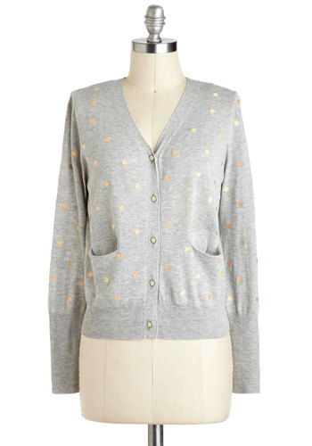 Peachy Mood Cardigan - Short, Green, Tan / Cream, Polka Dots, Buttons, Pockets, Casual, Long Sleeve