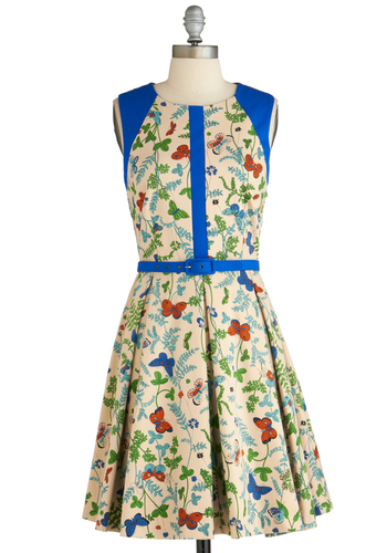 Thing-a-ma-Sprig Dress by Eva Franco - Multi, Print with Animals, Pleats, Belted, Daytime Party, A-line, Sleeveless, Floral, Exclusives, Cotton, Mid-length