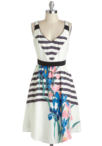 Resort to Radiance Dress by Corey Lynn Calter - White, Blue, Pink, Black, Multi, Stripes, Floral, Print, Pleats, Pockets, A-line, Tank top (2 thick straps), V Neck, Daytime Party, Vintage Inspired, 70s, 80s, Luxe, Long