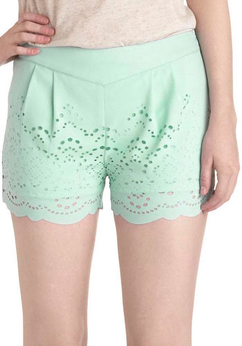 Scrapbook Report Shorts - Mint, Solid, Eyelet, Daytime Party, Beach/Resort, Vintage Inspired, Pastel, Cutout, Summer