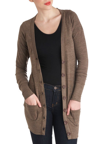 Layer It on the Line Cardigan in Brown - Brown, Solid, Buttons, Pockets, Casual, Long Sleeve, Variation