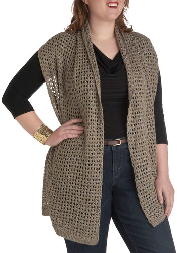Neutral in Town Sweater Vest in Plus Sizes - Tan, Brown, Knitted, Belted, Casual, Rustic