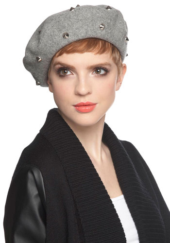 So to Spike Hat - Grey, Solid, Studs, French / Victorian, International Designer