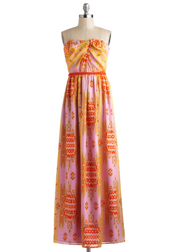 Sweep, Perchance to Dream Dress - Long, Multi, Orange, Yellow, Pink, Print, Casual, Empire, Maxi, Strapless