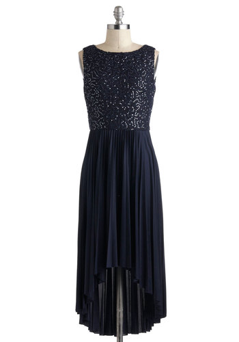 Let Me Allure You Dress in Blue - Mid-length, Blue, Solid, Lace, Pleats, Sequins, Cocktail, A-line, High-Low Hem, Luxe, Special Occasion