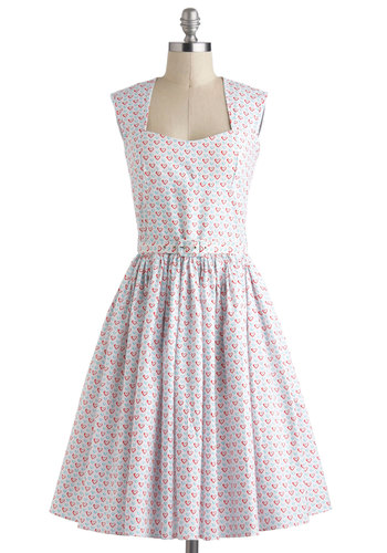 Little Hearts on the Prairie Dress by Bernie Dexter - Cotton, Long, Multi, Red, Blue, White, Novelty Print, Cutout, Belted, Casual, Vintage Inspired, 50s, Fit & Flare, Sleeveless