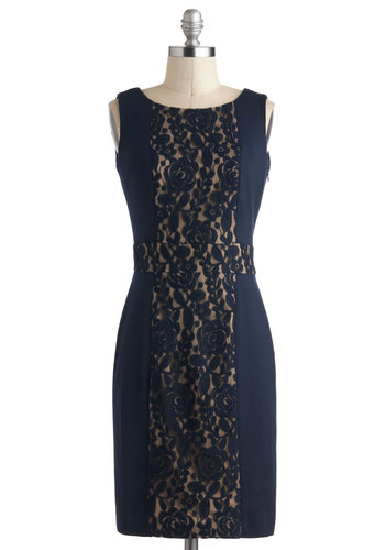 Lace 'Em Uptown Dress - Mid-length, Blue, Lace, Sheath / Shift, Sleeveless, Cocktail, Wedding, Work