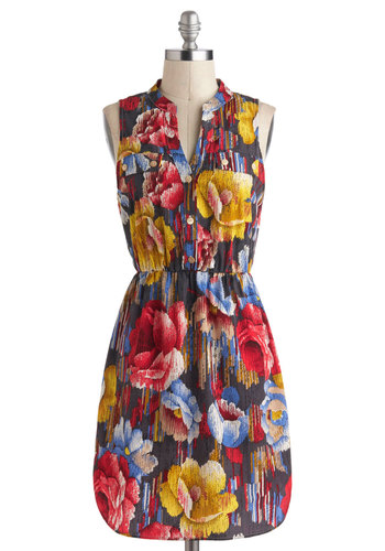 She's All Thatch Dress - Multi, Floral, Pockets, Casual, A-line, Sleeveless, V Neck, Mid-length, Buttons, Statement