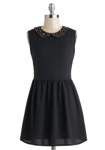 Traffic Gem Dress - Peter Pan Collar, A-line, Sleeveless, Collared, Short, Black, Solid, Rhinestones, Party