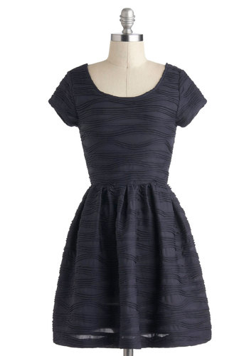 Friends in Flow Places Dress - Solid, A-line, Short, Blue, Party, Cap Sleeves, Holiday Party