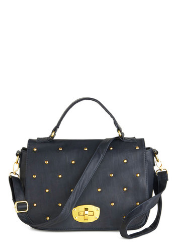 Study the Tides Bag - Black, Gold, Solid, Studs, International Designer