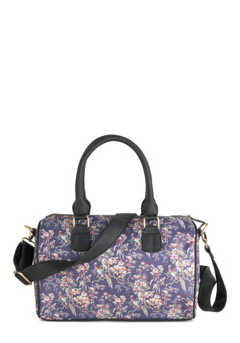 Petaled Patio Bag - Purple, Multi, Floral, Trim, International Designer, Faux Leather