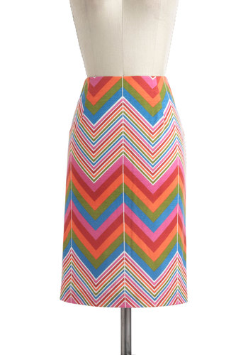 Prism and Her Skirt - Vintage Inspired, 70s, Red, Orange, Green, Blue, Pink, Multi, Stripes, Casual, Pencil, Mid-length, Spring, Chevron