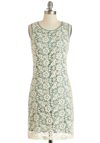 This Day and Sage Dress - Cutout, Cotton, Mid-length, White, Mint, Floral, Daytime Party, Shift, Tank top (2 thick straps), Crochet, Pastel, Mint, Graduation