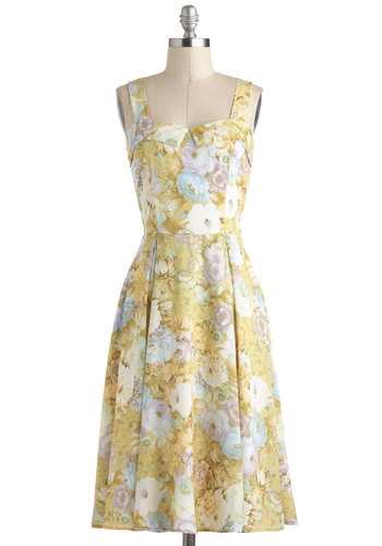 Living in the Pastel Dress - Yellow, Green, Purple, White, Multi, Floral, Pleats, Daytime Party, Vintage Inspired, A-line, Tank top (2 thick straps), Long, Pastel
