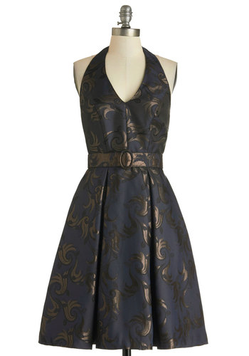 Bright Midnight Dress - Blue, Print, Party, A-line, Halter, Fall, Belted, Long, Gold, Pleats, Cocktail, V Neck, Pockets, Luxe