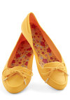 The More the Marigold Flat by Mel Shoes - Flat, Yellow, Solid, Bows, International Designer