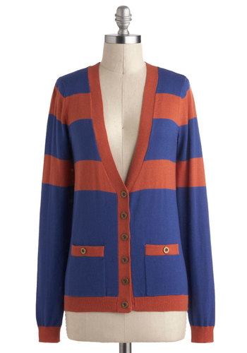 Fresh and Keen Cardigan - Blue, Brown, Buttons, Pockets, Scholastic/Collegiate, Long Sleeve, Mid-length, Stripes