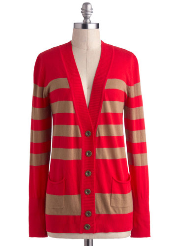 Caramel Cider Cardigan - Stripes, Buttons, Pockets, Scholastic/Collegiate, Long Sleeve, Cotton, Mid-length, Red, Tan / Cream, Casual