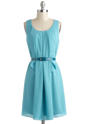 Turquoise about Town Dress - Solid, Pleats, Belted, A-line, Chiffon, Mid-length, Tank top (2 thick straps), Daytime Party, Blue