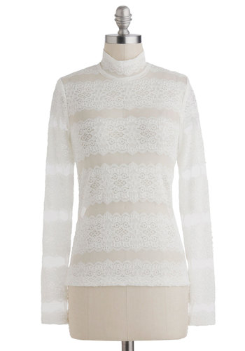 Style So Delicate Top - White, Solid, Lace, Long Sleeve, Sheer, Mid-length, Casual
