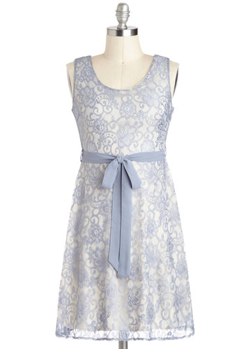 Fairy Gossamer Dress - Lace, A-line, Sleeveless, Mid-length, Cutout, Belted, Grey, Floral, Party, Pastel, Graduation