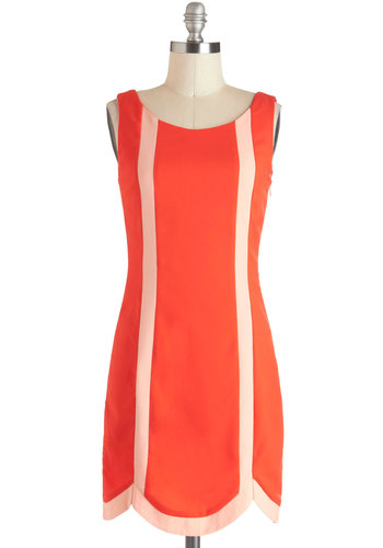 Canopy True? Dress - Orange, Tan / Cream, Short, Scallops, Party, Shift, Sleeveless, Colorblocking, Coral