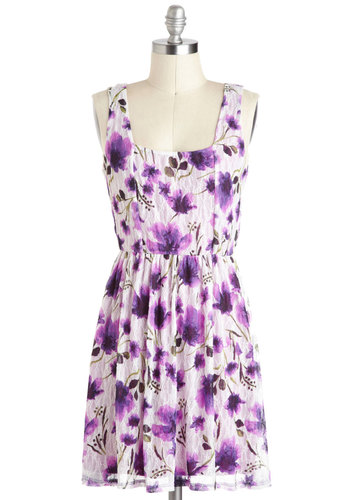 Petal to the Meadow Dress - Floral, Casual, Tank top (2 thick straps), A-line, Short, Purple, White, Backless
