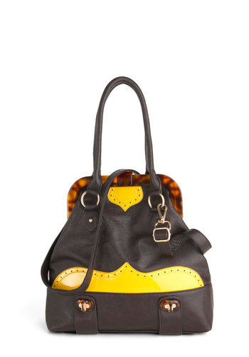 Tip Me the Wink Bag - Brown, Yellow, Solid, Trim