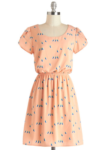 Take Your Peck Dress - Multi, Casual, A-line, Short Sleeves, Spring, Mid-length, Print with Animals, Orange