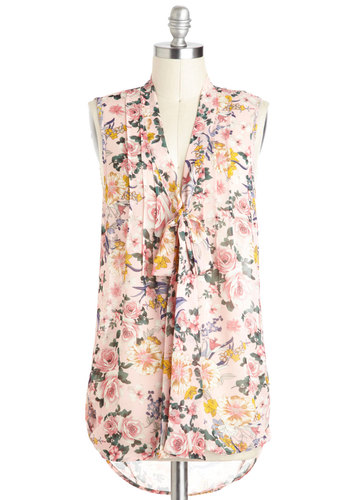 Bouquet Thanks Top - Sheer, Pink, Multi, Floral, Tie Neck, Sleeveless, Spring, Work, Daytime Party, Summer