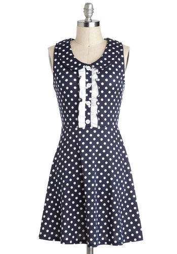Torte of Call Dress - Polka Dots, Blue, White, Buttons, Ruffles, Casual, A-line, Sleeveless, Collared, Peter Pan Collar, Nautical, Short, Spring