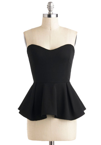 Posh for the Photo Top - Short, Black, Solid, Exposed zipper, Girls Night Out, Peplum, Strapless, Pleats