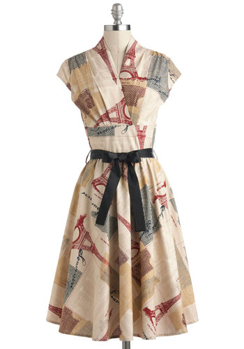 Greeting Postcard Dress in Stationery - Tan, Red, Blue, Multi, Novelty Print, Belted, Casual, Vintage Inspired, A-line, Cap Sleeves, Cotton, Travel, Top Rated, Long
