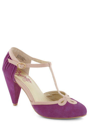 All Dressed Up Heel in Plum by Seychelles - Mid, Leather, Purple, Tan / Cream, Formal, Prom, Party, Variation, Best, T-Strap