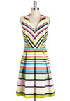 Run a Bright Ship Dress - Stripes, Pleats, Party, Vintage Inspired, A-line, Halter, Spring, Multi, Red, Yellow, Black, White, Exposed zipper, V Neck, Luxe, Mid-length, Pockets, Chevron, Graduation
