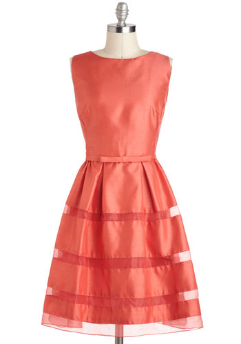 Dinner Party Darling Dress in Grapefruit Red - Solid, Tiered, Belted, Formal, Prom, Cocktail, Vintage Inspired, 50s, A-line, Sleeveless, Spring, Bows, Coral, Wedding, Mid-length, Bridesmaid