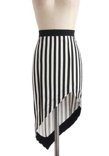 Design Charrette Skirt - Black, White, Stripes, Steampunk, Pencil, High-Low Hem, Short