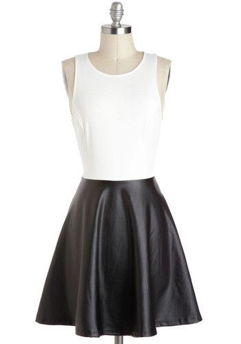Half a Great Time Dress - Mid-length, Black, White, Backless, Girls Night Out, A-line, Twofer, Tank top (2 thick straps)