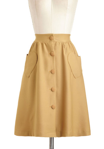 Tree-Tender Heart Skirt - Mid-length, Yellow, Solid, Buttons, Pockets, Cocktail, Vintage Inspired, 40s, 50s